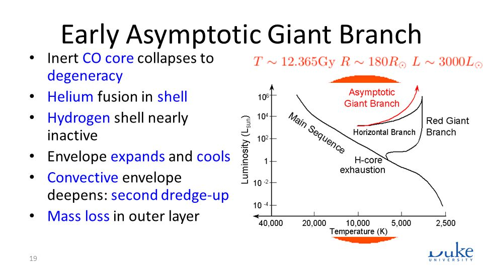 Early Asymptotic Giant Branch Inert CO core collapses to degeneracy Helium fusion in shell Hydrogen shell nearly inactive Envelope expands and cools C