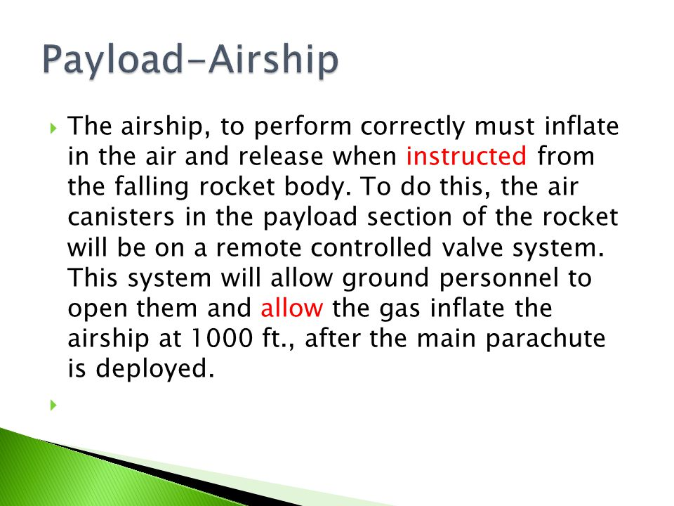  The airship, to perform correctly must inflate in the air and release when instructed from the falling rocket body.