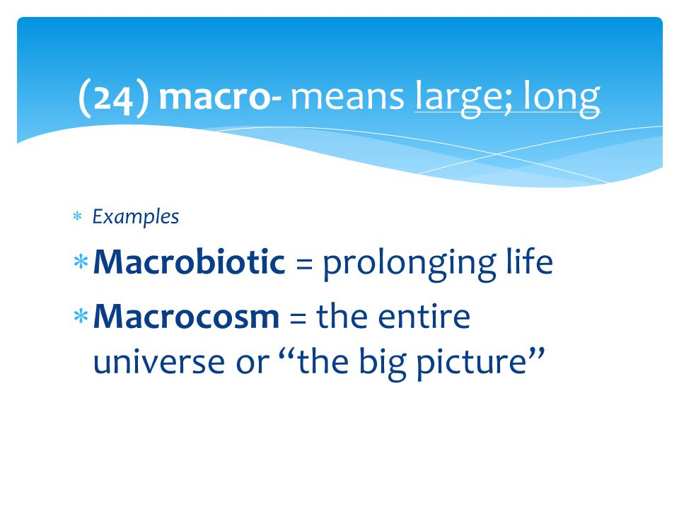(24) macro- means large; long  Examples  Macrobiotic = prolonging life  Macrocosm = the entire universe or the big picture