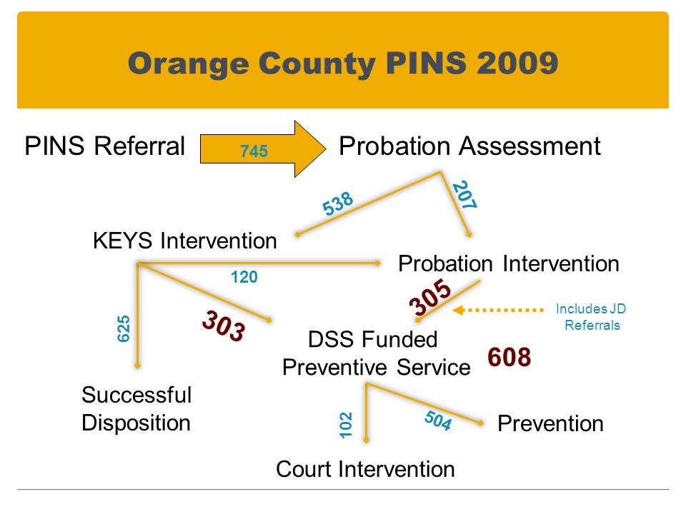 Orange County PINS 2009 PINS ReferralProbation Assessment KEYS Intervention Probation Intervention Successful Disposition DSS Funded Preventive Service Court Intervention Prevention 538 207 305 120 303 625 608 745 102 504 Includes JD Referrals