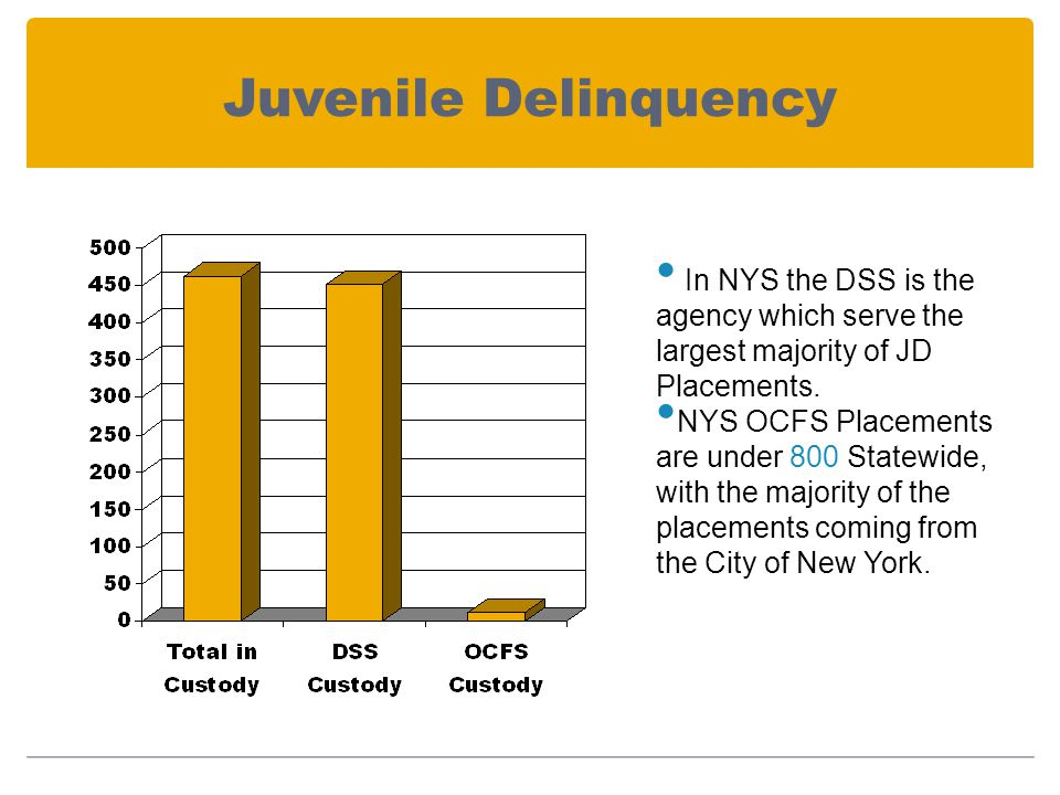 Juvenile Delinquency In NYS the DSS is the agency which serve the largest majority of JD Placements.