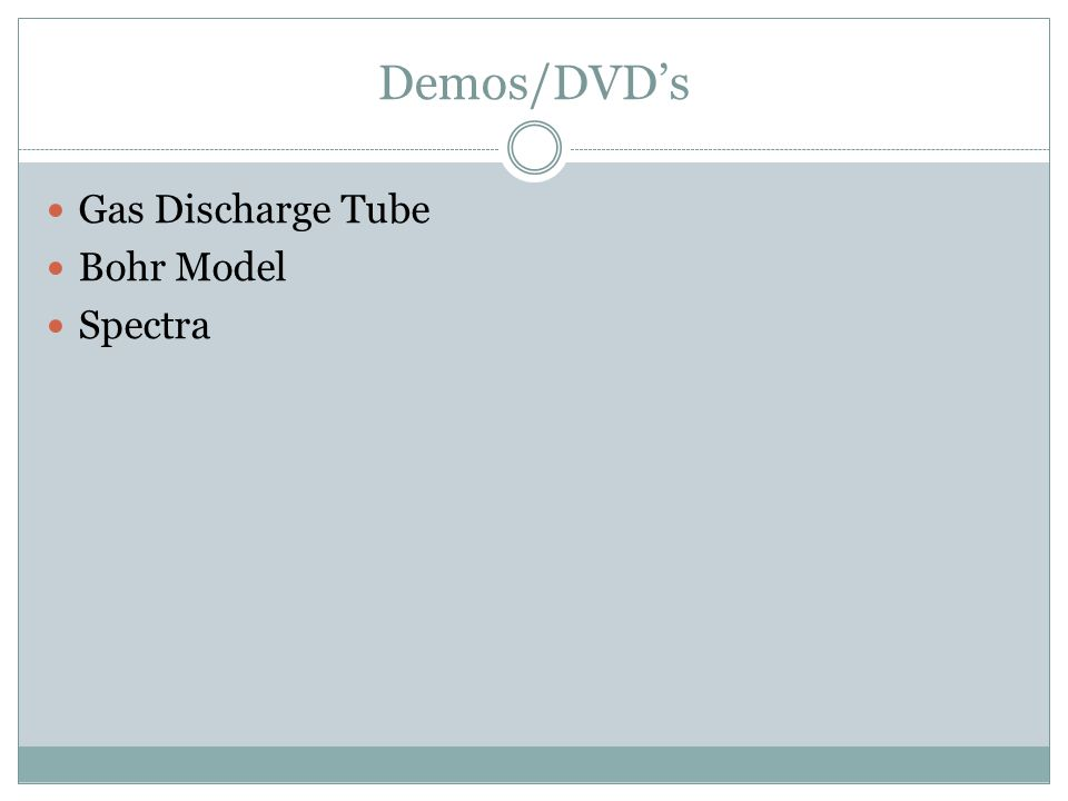 Demos/DVD's Gas Discharge Tube Bohr Model Spectra
