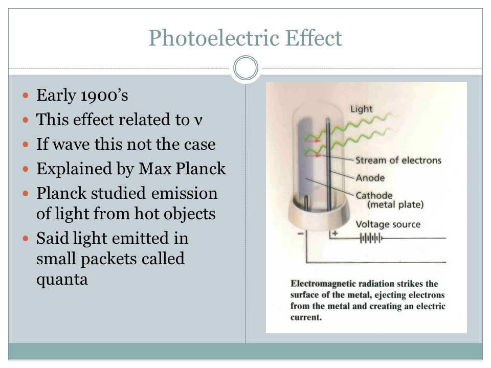 Photoelectric Effect Early 1900's This effect related to ν If wave this not the case Explained by Max Planck Planck studied emission of light from hot