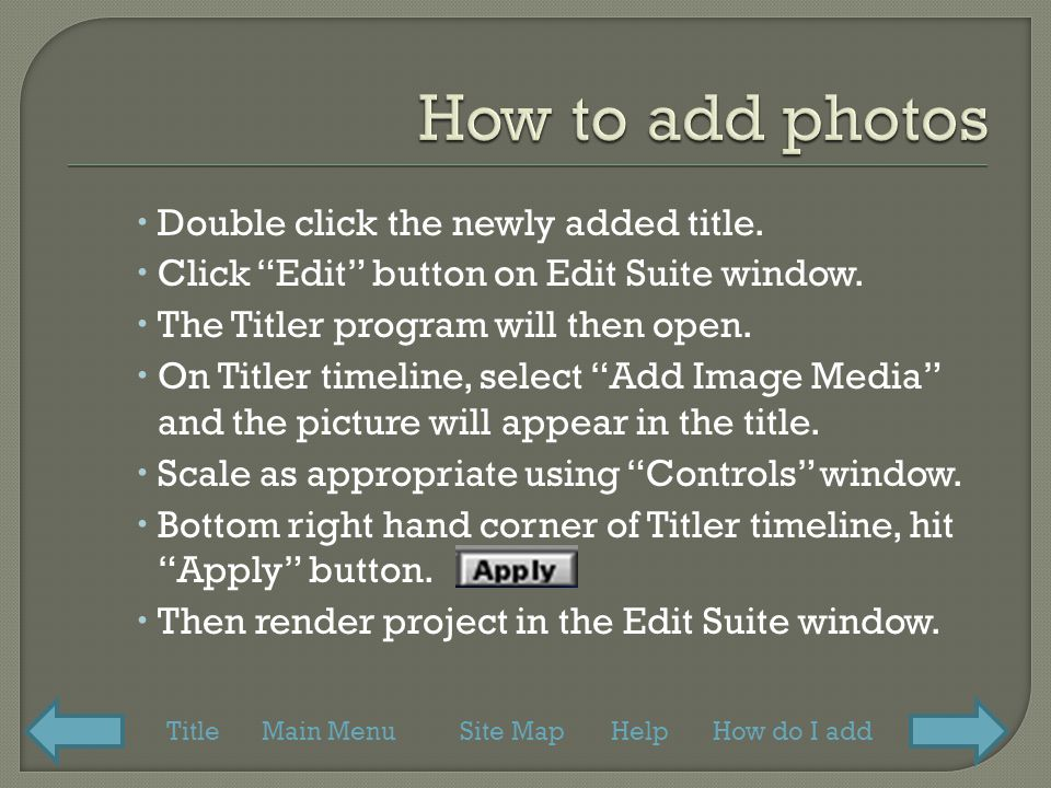  Double click the newly added title.  Click Edit button on Edit Suite window.