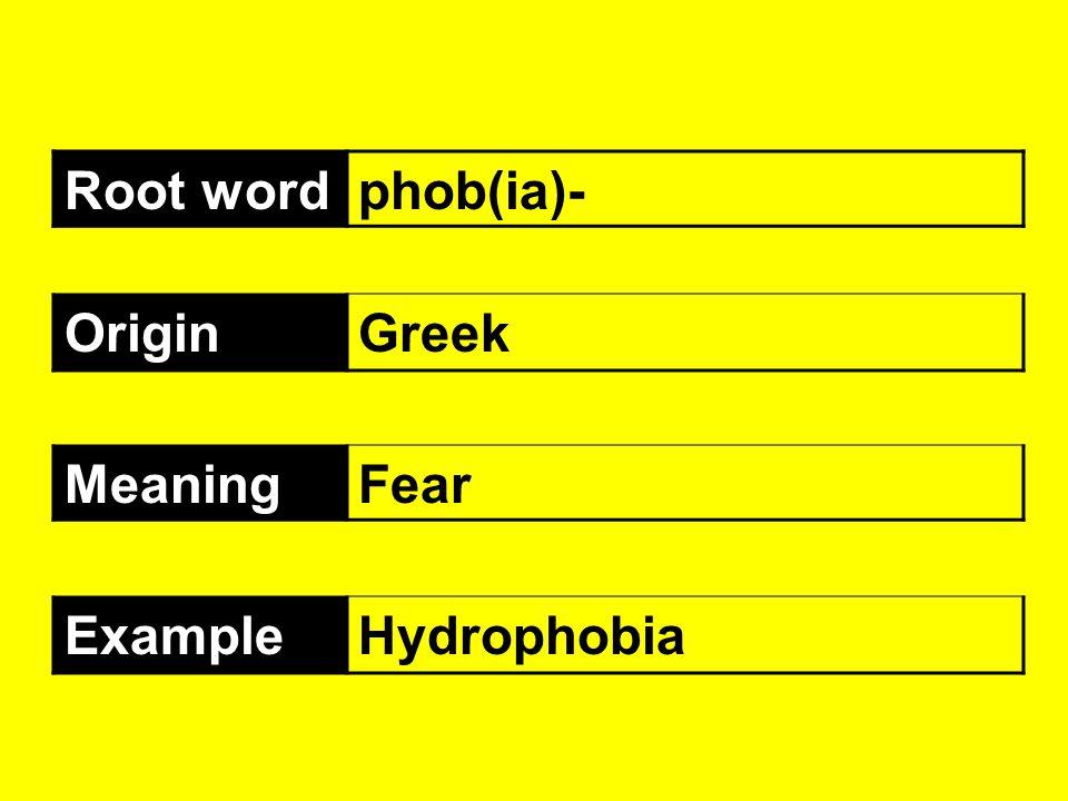 Root wordphob(ia)- OriginGreek MeaningFear ExampleHydrophobia