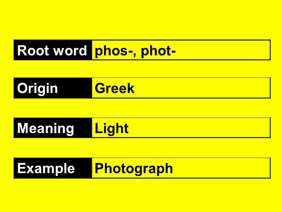 Root wordphos-, phot- OriginGreek MeaningLight ExamplePhotograph