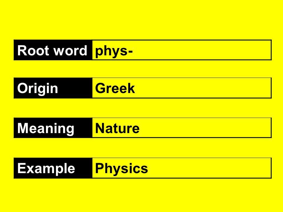 Root wordphys- OriginGreek MeaningNature ExamplePhysics