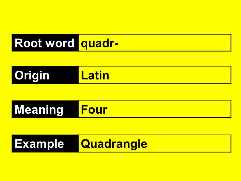 Root wordquadr- OriginLatin MeaningFour ExampleQuadrangle