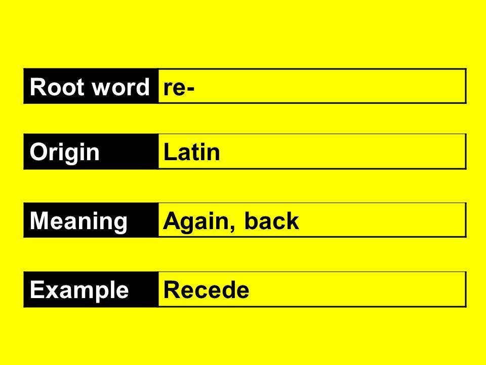 Root wordre- OriginLatin MeaningAgain, back ExampleRecede
