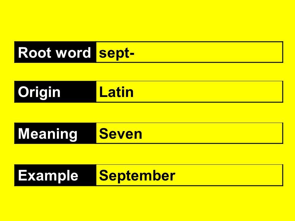 Root wordsept- OriginLatin MeaningSeven ExampleSeptember