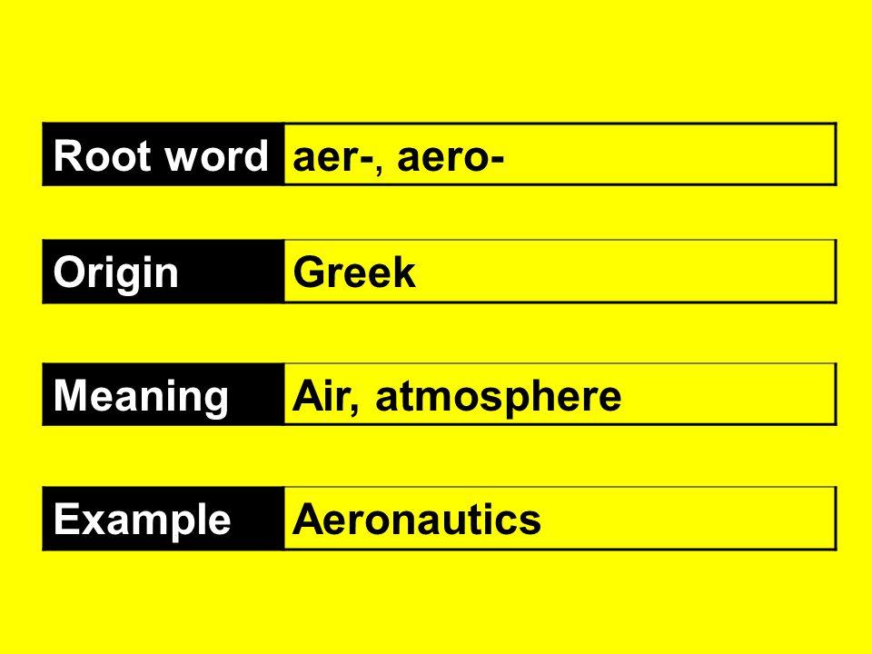Root wordaer-, aero- OriginGreek MeaningAir, atmosphere ExampleAeronautics