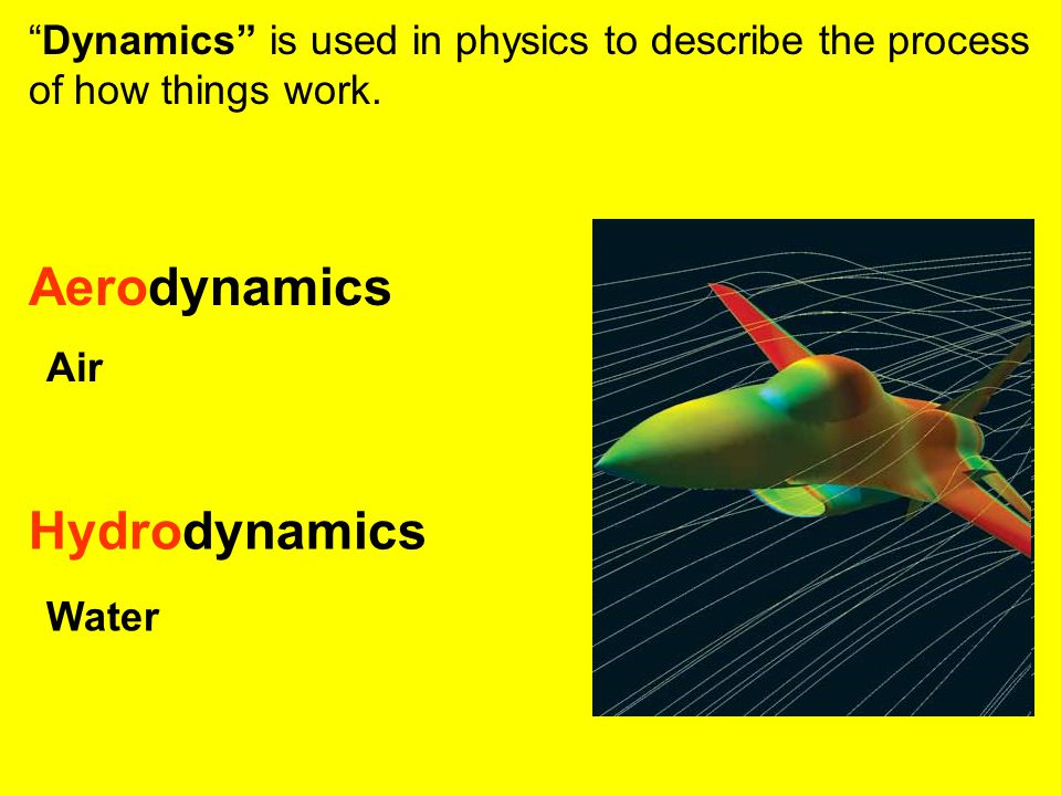 """""""Dynamics"""" is used in physics to describe the process of how things work. Aerodynamics Hydrodynamics Air Water"""