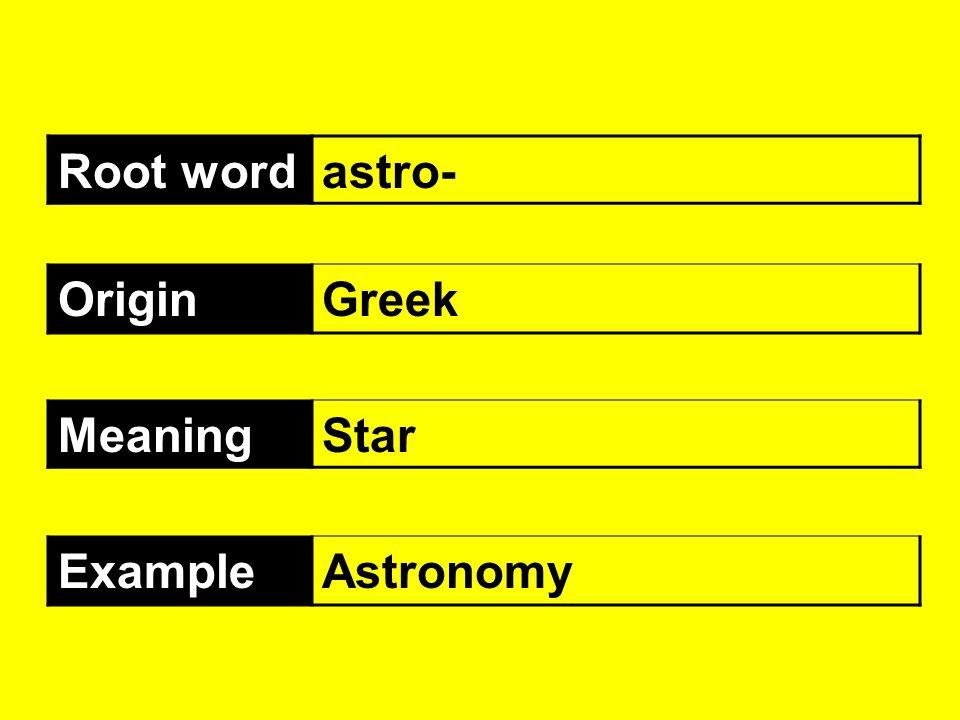Root wordastro- OriginGreek MeaningStar ExampleAstronomy