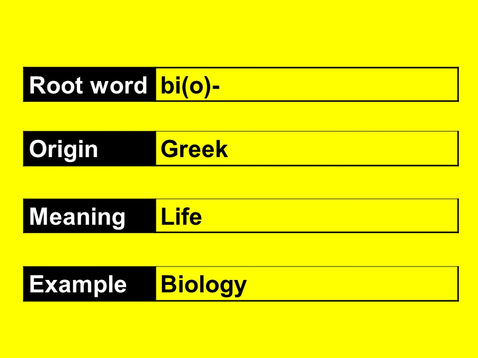 Root wordbi(o)- OriginGreek MeaningLife ExampleBiology
