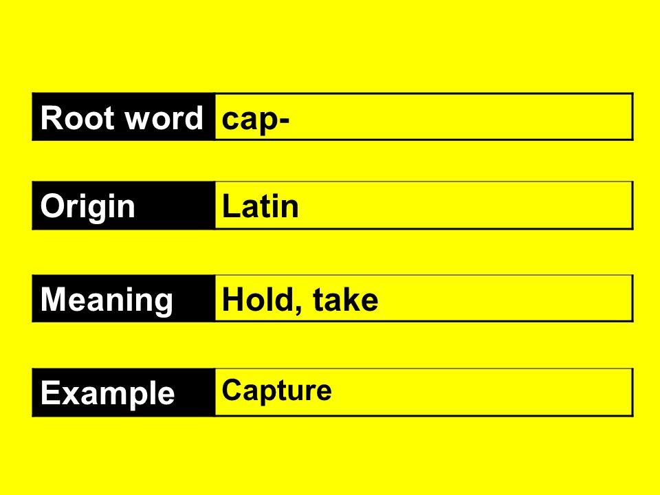 Root wordcap- OriginLatin MeaningHold, take Example Capture