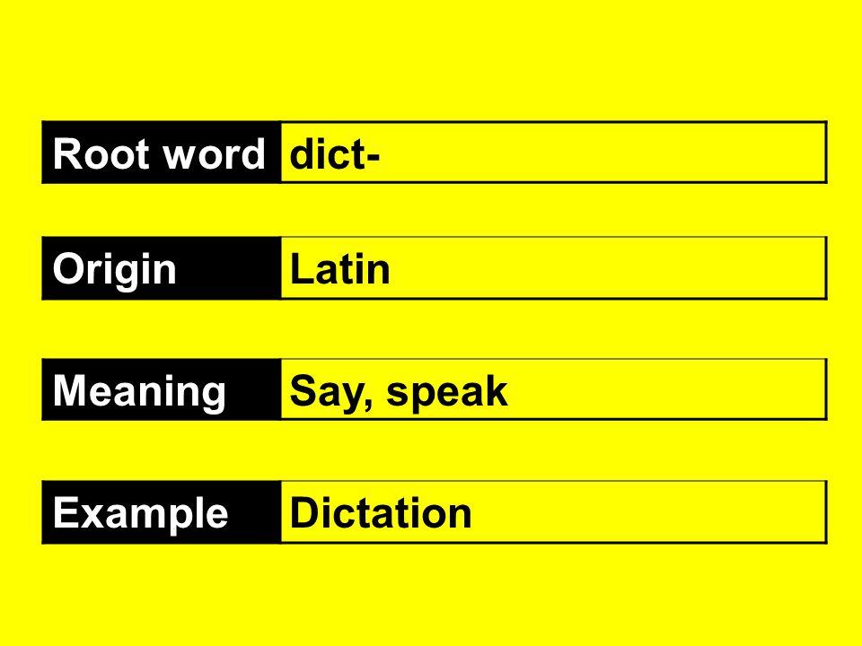 Root worddict- OriginLatin MeaningSay, speak ExampleDictation