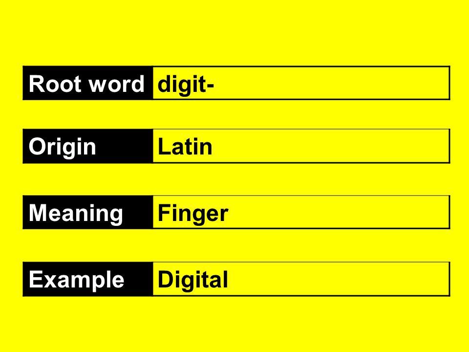 Root worddigit- OriginLatin MeaningFinger ExampleDigital