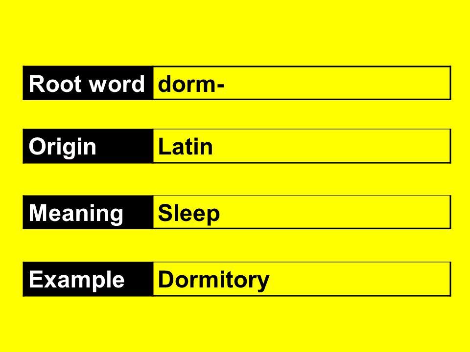 Root worddorm- OriginLatin MeaningSleep ExampleDormitory