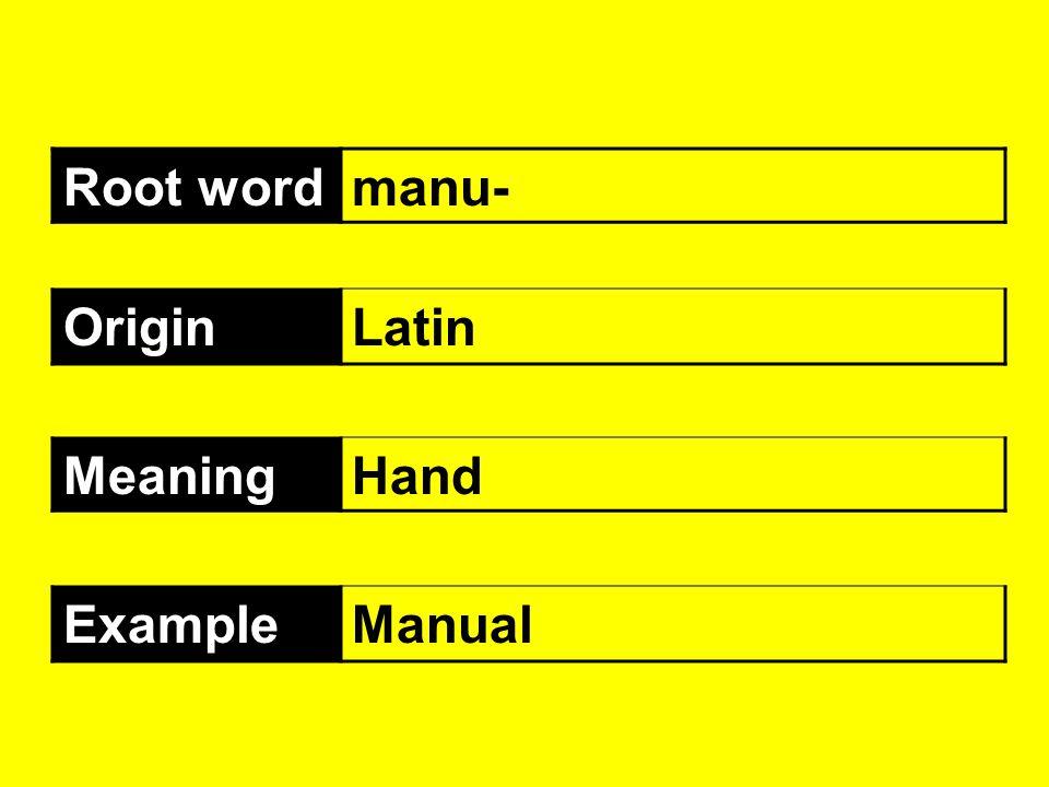 Root wordmanu- OriginLatin MeaningHand ExampleManual
