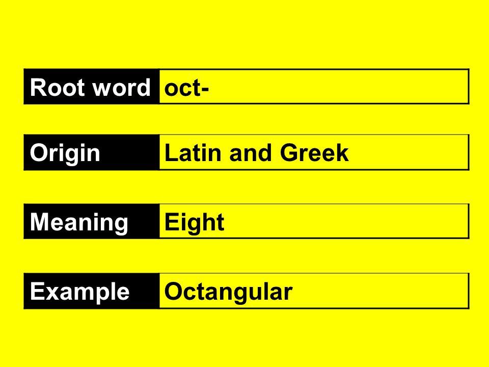 Root wordoct- OriginLatin and Greek MeaningEight ExampleOctangular