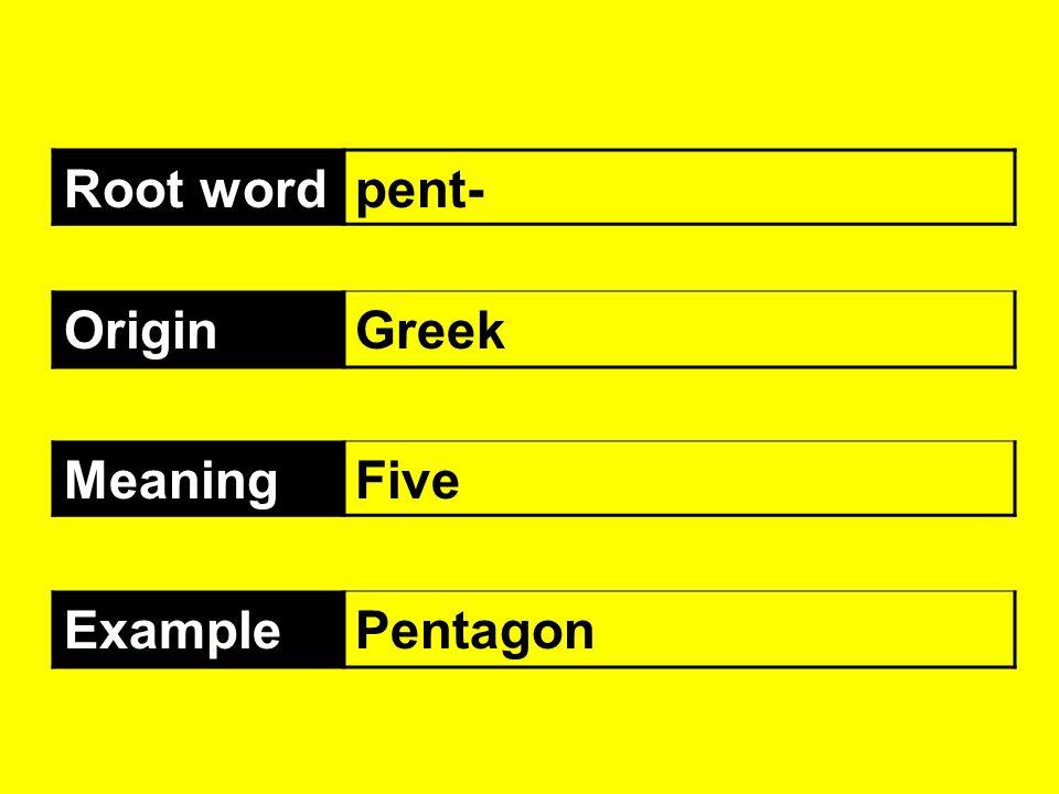 Root wordpent- OriginGreek MeaningFive ExamplePentagon