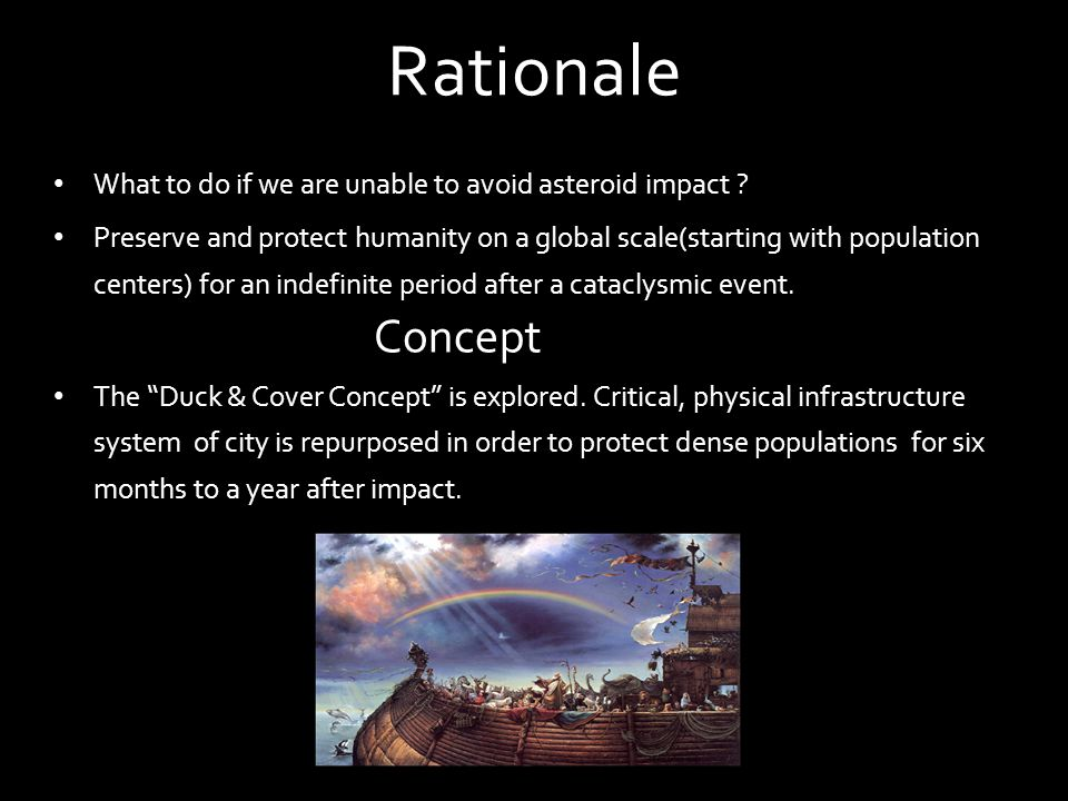 Rationale What to do if we are unable to avoid asteroid impact ? Preserve and protect humanity on a global scale(starting with population centers) for