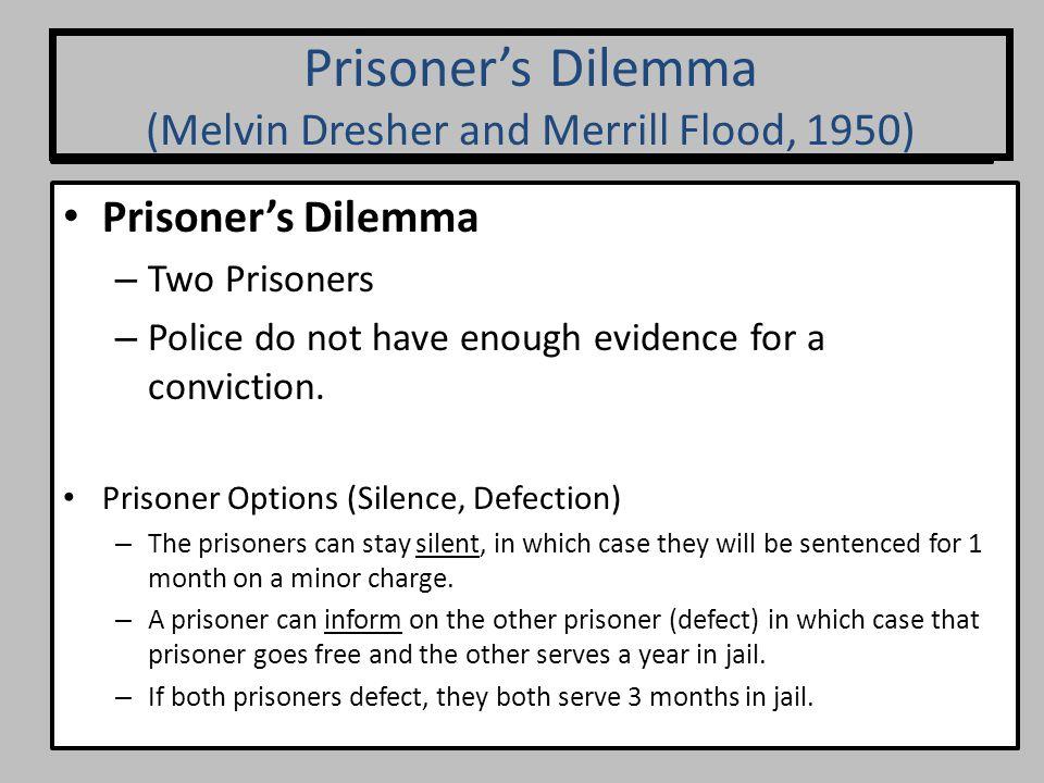 Prisoner's Dilemma (Axelrod, 1984) Prisoner's Dilemma – Two Prisoners – Police do not have enough evidence for a conviction. Prisoner Options (Silence