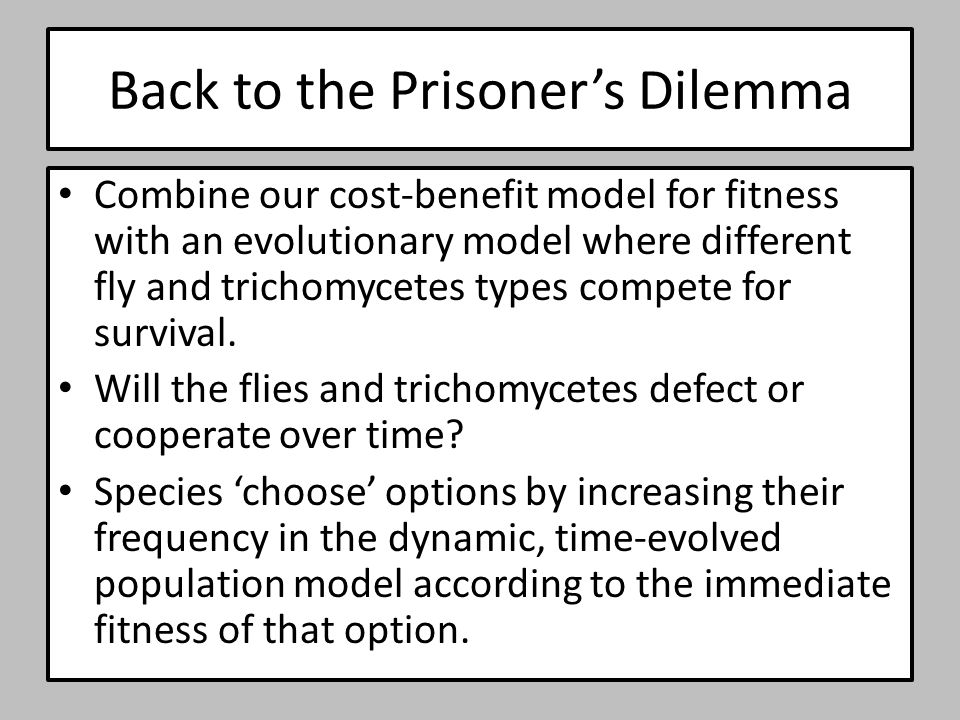 Back to the Prisoner's Dilemma Combine our cost-benefit model for fitness with an evolutionary model where different fly and trichomycetes types compe