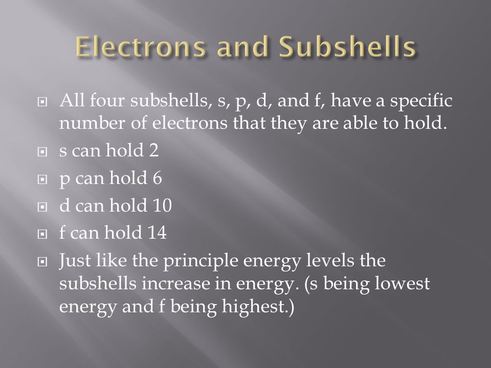  All four subshells, s, p, d, and f, have a specific number of electrons that they are able to hold.  s can hold 2  p can hold 6  d can hold 10 