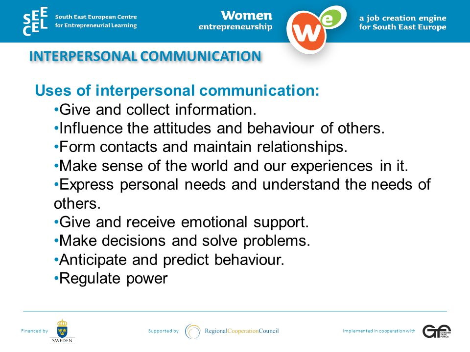 Financed bySupported byImplemented in cooperation with INTERPERSONAL COMMUNICATION Uses of interpersonal communication: Give and collect information.