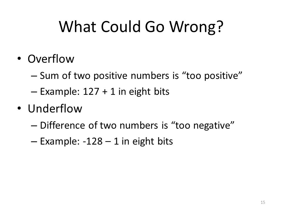 """What Could Go Wrong? Overflow – Sum of two positive numbers is """"too positive"""" – Example: 127 + 1 in eight bits Underflow – Difference of two numbers i"""