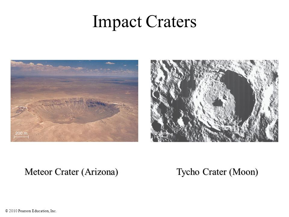 © 2010 Pearson Education, Inc. Impact Craters Meteor Crater (Arizona) Tycho Crater (Moon)
