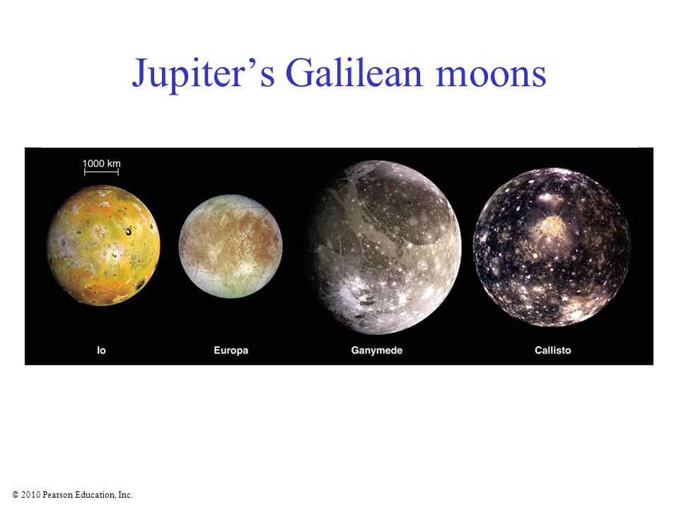 © 2010 Pearson Education, Inc. Jupiter's Galilean moons