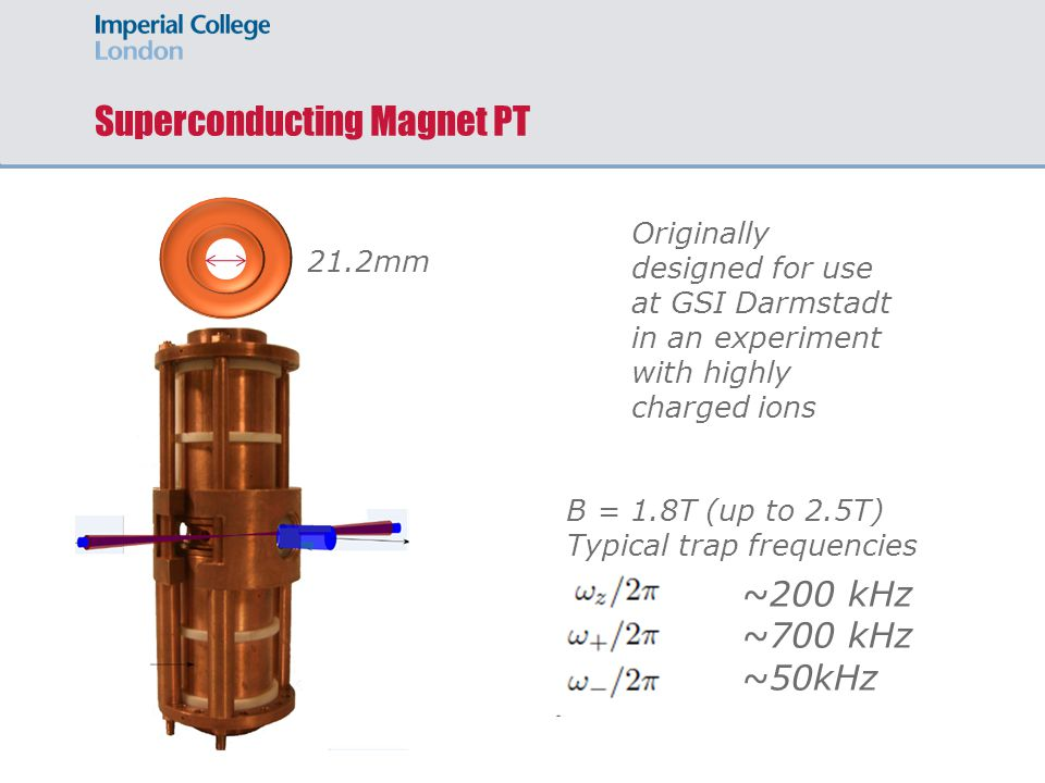 Superconducting Magnet PT 21.2mm Originally designed for use at GSI Darmstadt in an experiment with highly charged ions B = 1.8T (up to 2.5T) Typical