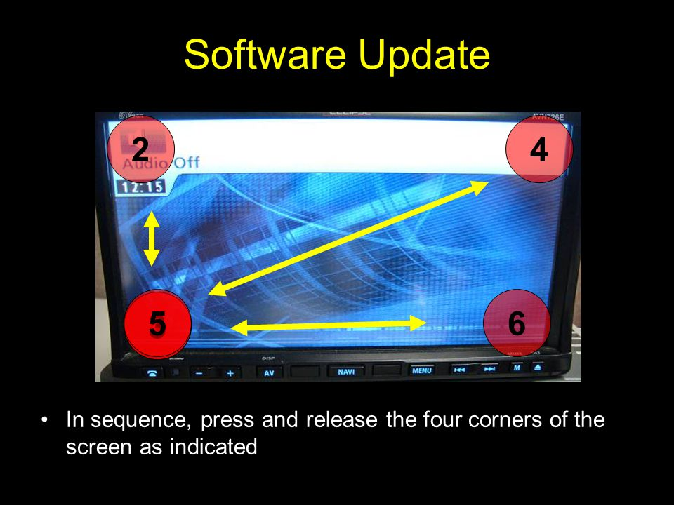 Software Update In sequence, press and release the four corners of the screen as indicated 1 2 3 4 56