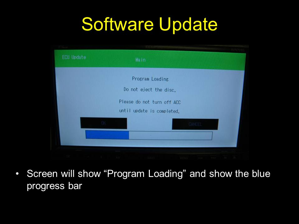 Software Update Screen will show Program Loading and show the blue progress bar