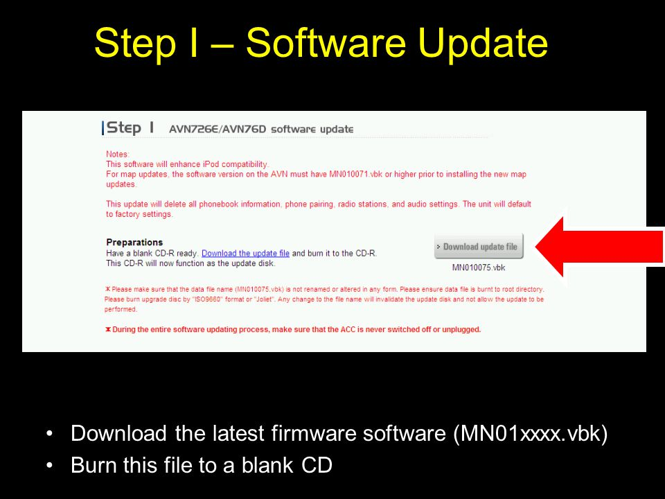 Step I – Software Update Download the latest firmware software (MN01xxxx.vbk) Burn this file to a blank CD