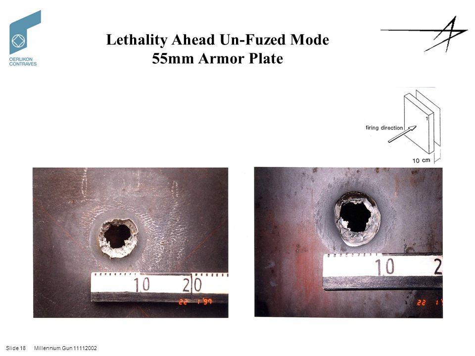 Slide 18 Millennium Gun 11112002 Lethality Ahead Un-Fuzed Mode 55mm Armor Plate