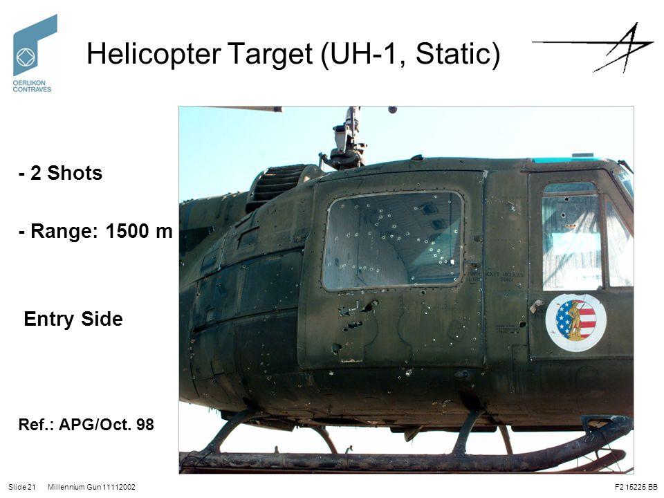 Slide 21 Millennium Gun 11112002 Helicopter Target (UH-1, Static) - 2 Shots - Range: 1500 m Entry Side Ref.: APG/Oct. 98 F2 15225 BB