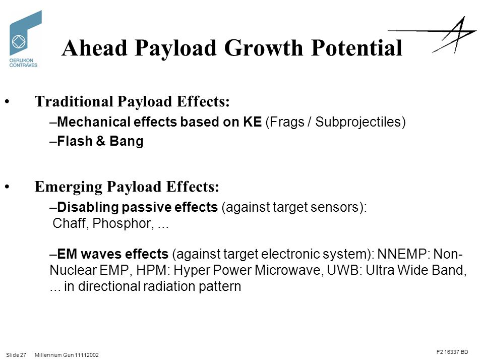 Slide 27 Millennium Gun 11112002 Ahead Payload Growth Potential Traditional Payload Effects: –Mechanical effects based on KE (Frags / Subprojectiles) –Flash & Bang Emerging Payload Effects: –Disabling passive effects (against target sensors): Chaff, Phosphor,...