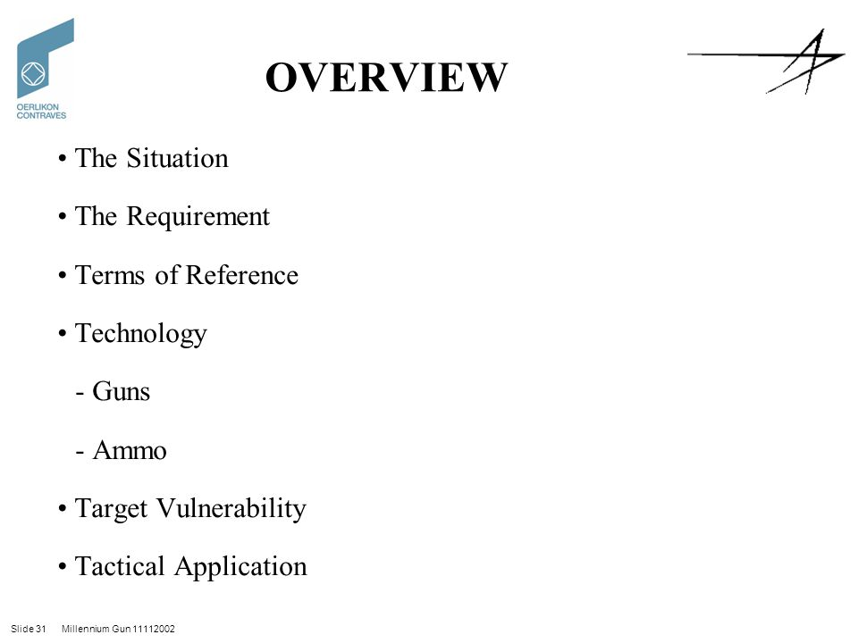 Slide 31 Millennium Gun 11112002 OVERVIEW The Situation The Requirement Terms of Reference Technology - Guns - Ammo Target Vulnerability Tactical Application