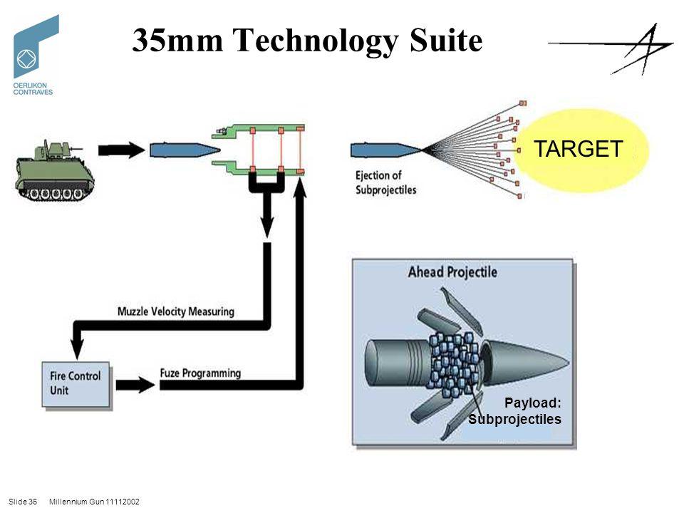 Slide 36 Millennium Gun 11112002 35mm Technology Suite Payload: Subprojectiles TARGET