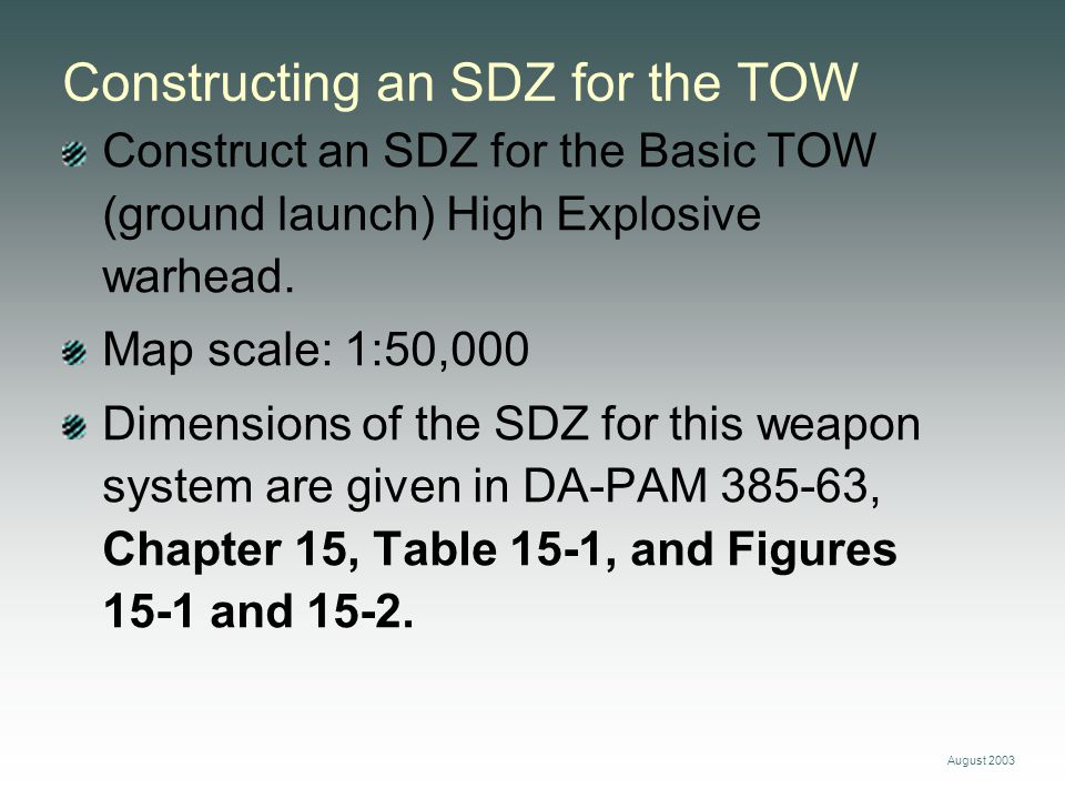 August 2003 Constructing an SDZ for the TOW Construct an SDZ for the Basic TOW (ground launch) High Explosive warhead.