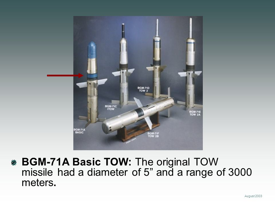 August 2003 BGM-71C Improved TOW (ITOW): This missile includes an extended probe for greater standoff and penetration.