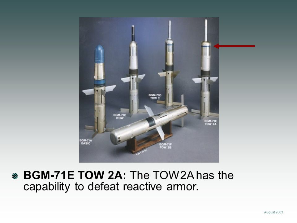 August 2003 BGM-71F TOW 2B: The TOW 2B Missile incorporates new fly-over, shoot-down technology.