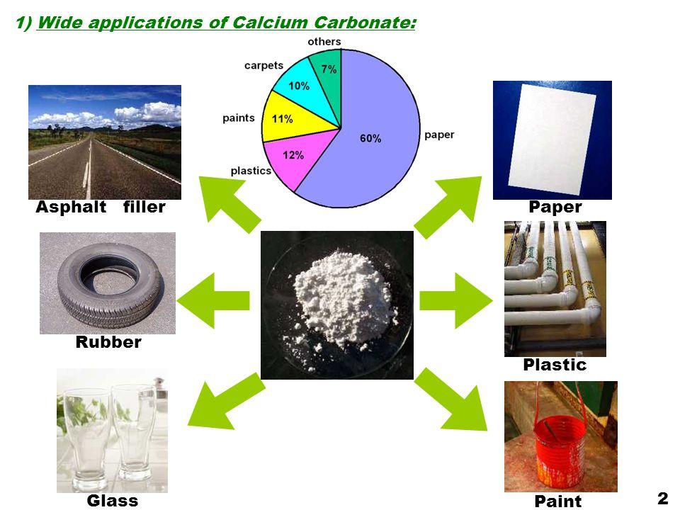 1) Wide applications of Calcium Carbonate: Rubber Glass Paper PaintAsphalt filler Plastic 2