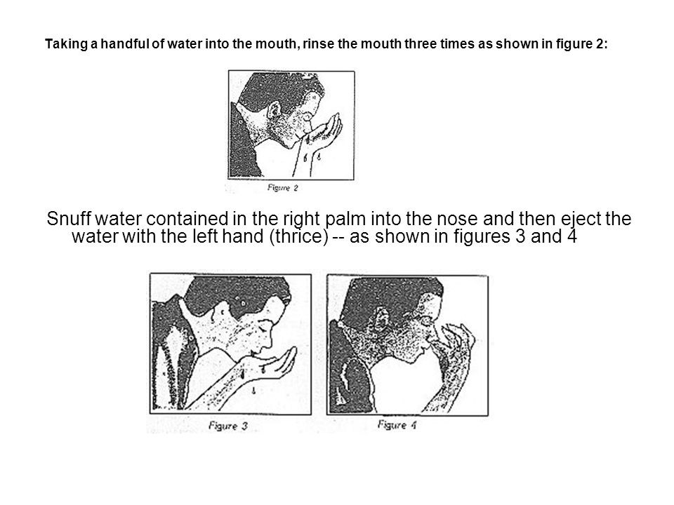 Taking a handful of water into the mouth, rinse the mouth three times as shown in figure 2: Snuff water contained in the right palm into the nose and then eject the water with the left hand (thrice) -- as shown in figures 3 and 4