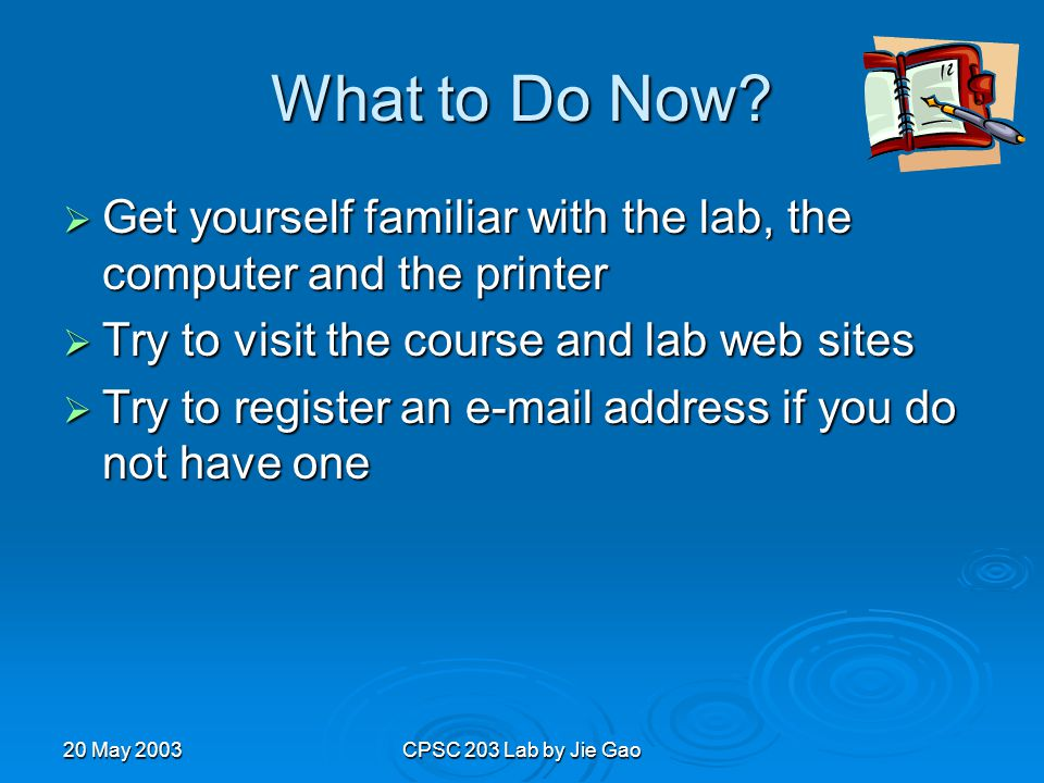 20 May 2003CPSC 203 Lab by Jie Gao What to Do Now.