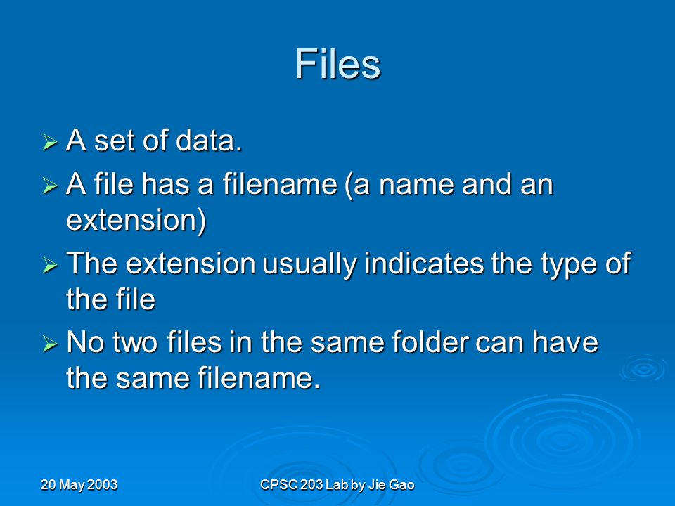 20 May 2003CPSC 203 Lab by Jie Gao Files  A set of data.
