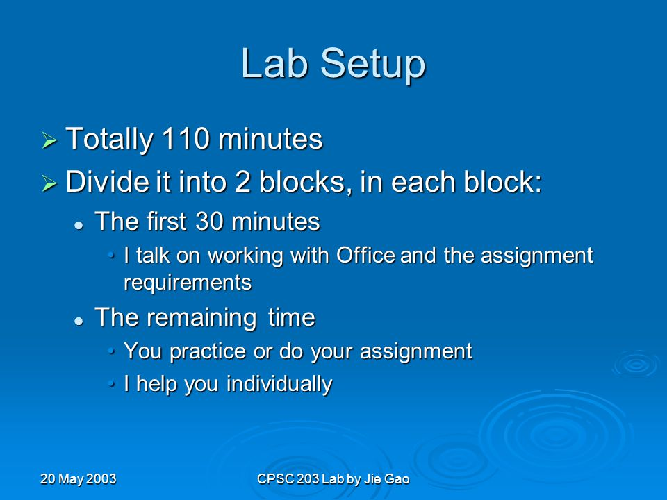 20 May 2003CPSC 203 Lab by Jie Gao Lab Setup  Totally 110 minutes  Divide it into 2 blocks, in each block: The first 30 minutes The first 30 minutes I talk on working with Office and the assignment requirementsI talk on working with Office and the assignment requirements The remaining time The remaining time You practice or do your assignmentYou practice or do your assignment I help you individuallyI help you individually